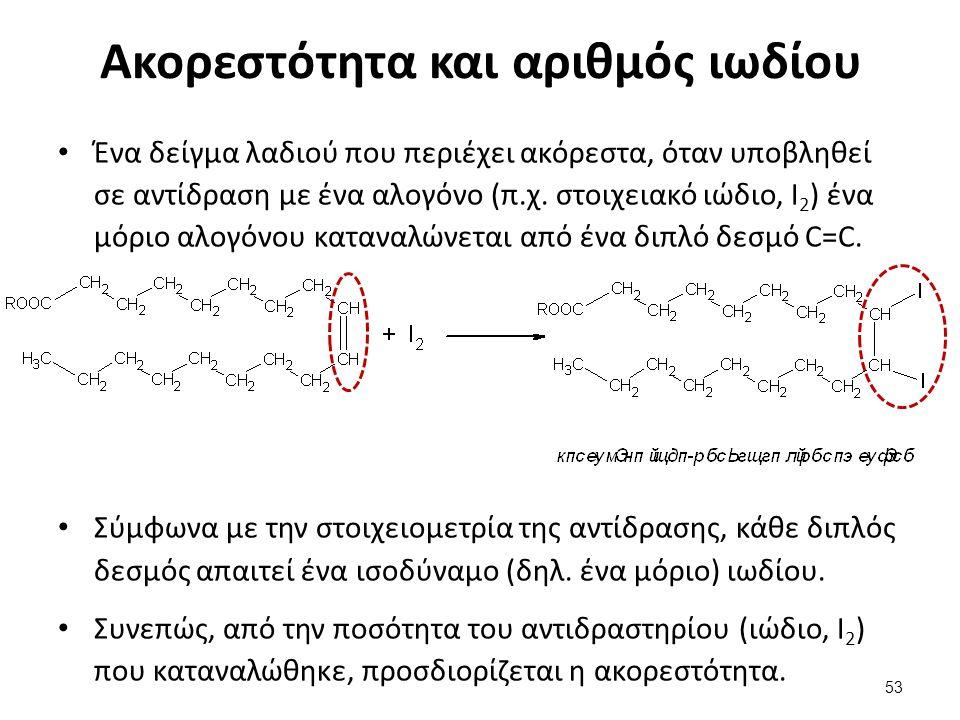 Ακορεστότητα και αριθμός ιωδίου Ένα δείγμα λαδιού που περιέχει ακόρεστα, όταν υποβληθεί σε αντίδραση με ένα αλογόνο (π.χ.