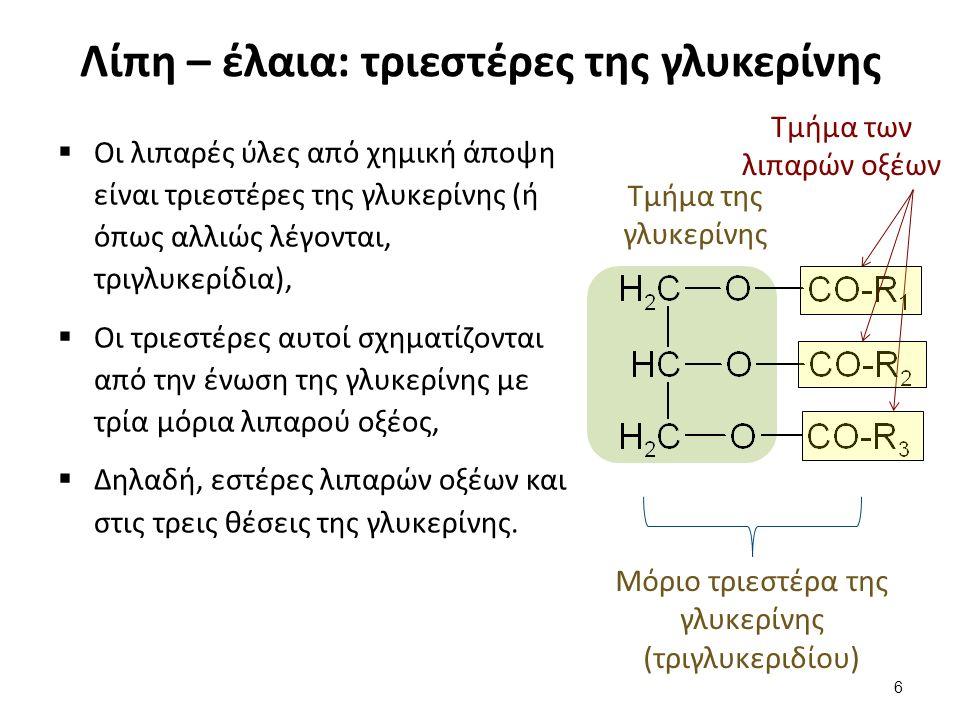Λίπη – έλαια: τριεστέρες της γλυκερίνης  Οι λιπαρές ύλες από χημική άποψη είναι τριεστέρες της γλυκερίνης (ή όπως αλλιώς λέγονται, τριγλυκερίδια),  Οι τριεστέρες αυτοί σχηματίζονται από την ένωση της γλυκερίνης με τρία μόρια λιπαρού οξέος,  Δηλαδή, εστέρες λιπαρών οξέων και στις τρεις θέσεις της γλυκερίνης.