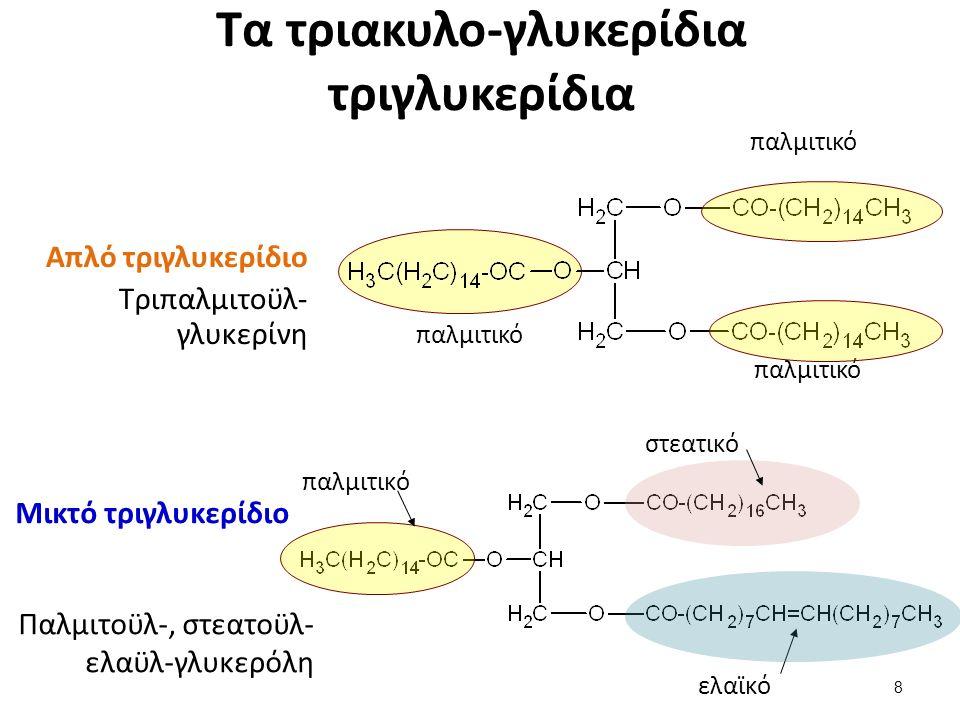 Τα τριακυλο-γλυκερίδια τριγλυκερίδια Απλό τριγλυκερίδιο Τριπαλμιτοϋλ- γλυκερίνη ελαϊκό παλμιτικό Μικτό τριγλυκερίδιο στεατικό παλμιτικό Παλμιτοϋλ-, στεατοϋλ- ελαϋλ-γλυκερόλη 8