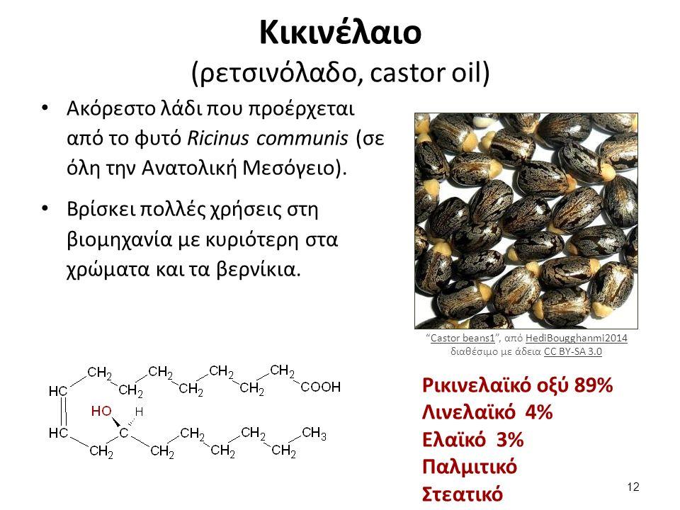 Κικινέλαιο (ρετσινόλαδο, castor oil) Ακόρεστο λάδι που προέρχεται από το φυτό Ricinus communis (σε όλη την Ανατολική Μεσόγειο).