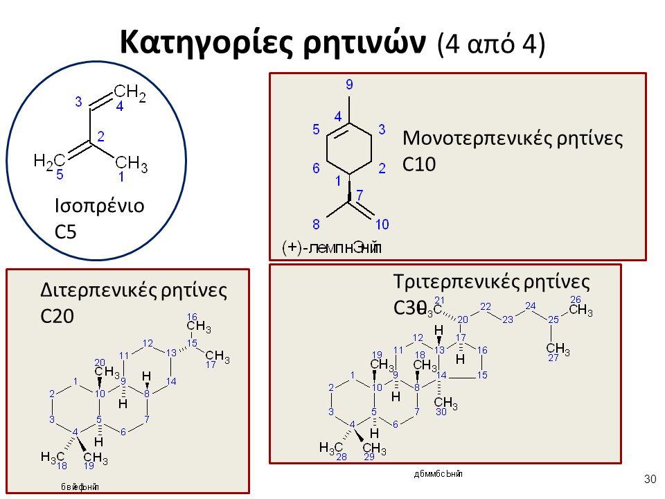 Κατηγορίες ρητινών (4 από 4) Διτερπενικές ρητίνες C20 Τριτερπενικές ρητίνες C30 Μονοτερπενικές ρητίνες C10 Ισοπρένιο C5 30