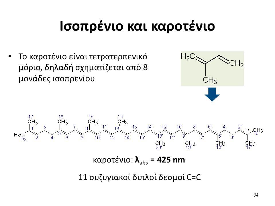 Ισοπρένιο και καροτένιο Το καροτένιο είναι τετρατερπενικό μόριο, δηλαδή σχηματίζεται από 8 μονάδες ισοπρενίου 34 καροτένιο: λ abs = 425 nm 11 συζυγιακοί διπλοί δεσμοί C=C