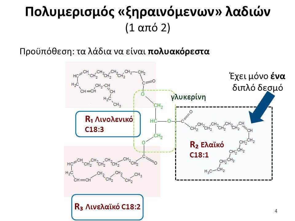 Πολυμερισμός «ξηραινόμενων» λαδιών (1 από 2) γλυκερίνη R₁ Λινολενικό C18:3 R₂ Ελαϊκό C18:1 R₃ Λινελαϊκό C18:2 Έχει μόνο ένα διπλό δεσμό 4 Προϋπόθεση: τα λάδια να είναι πολυακόρεστα