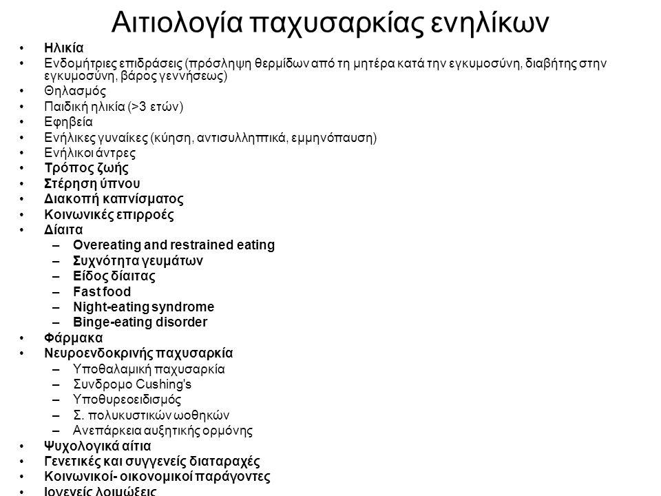 Αιτιολογία παχυσαρκίας ενηλίκων Ηλικία Ενδομήτριες επιδράσεις (πρόσληψη θερμίδων από τη μητέρα κατά την εγκυμοσύνη, διαβήτης στην εγκυμοσύνη, βάρος γεννήσεως) Θηλασμός Παιδική ηλικία (>3 ετών) Εφηβεία Ενήλικες γυναίκες (κύηση, αντισυλληπτικά, εμμηνόπαυση) Ενήλικοι άντρες Τρόπος ζωής Στέρηση ύπνου Διακοπή καπνίσματος Κοινωνικές επιρροές Δίαιτα –Overeating and restrained eating –Συχνότητα γευμάτων –Είδος δίαιτας –Fast food –Night-eating syndrome –Binge-eating disorder Φάρμακα Νευροενδοκρινής παχυσαρκία –Υποθαλαμική παχυσαρκία –Συνδρομο Cushing s –Υποθυρεοειδισμός –Σ.
