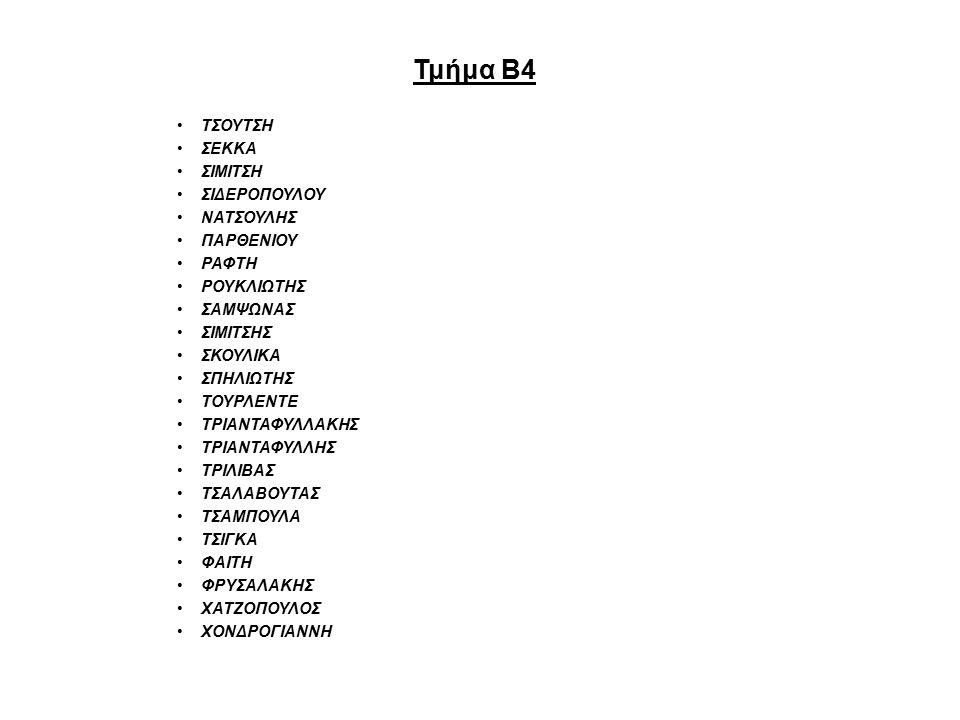 Τμήμα Β4 ΤΣΟΥΤΣΗ ΣΕΚΚΑ ΣΙΜΙΤΣΗ ΣΙΔΕΡΟΠΟΥΛΟΥ ΝΑΤΣΟΥΛΗΣ ΠΑΡΘΕΝΙΟΥ ΡΑΦΤΗ ΡΟΥΚΛΙΩΤΗΣ ΣΑΜΨΩΝΑΣ ΣΙΜΙΤΣΗΣ ΣΚΟΥΛΙΚΑ ΣΠΗΛΙΩΤΗΣ ΤΟΥΡΛΕΝΤΕ ΤΡΙΑΝΤΑΦΥΛΛΑΚΗΣ ΤΡΙΑΝΤΑΦΥΛΛΗΣ ΤΡΙΛΙΒΑΣ ΤΣΑΛΑΒΟΥΤΑΣ ΤΣΑΜΠΟΥΛΑ ΤΣΙΓΚΑ ΦΑΙΤΗ ΦΡΥΣΑΛΑΚΗΣ ΧΑΤΖΟΠΟΥΛΟΣ ΧΟΝΔΡΟΓΙΑΝΝΗ