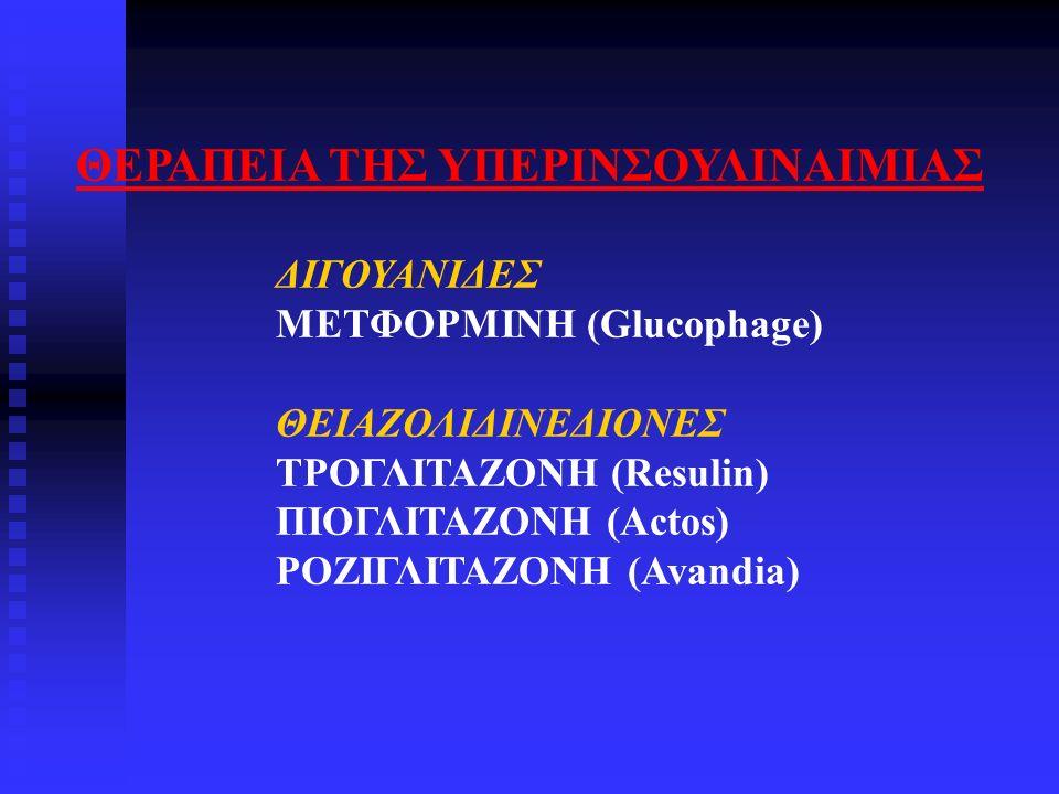 ΘΕΡΑΠΕΙΑ ΤΗΣ ΥΠΕΡΙΝΣΟΥΛΙΝΑΙΜΙΑΣ ΔΙΓΟΥΑΝΙΔΕΣ ΜΕΤΦΟΡΜΙΝΗ (Glucophage) ΘΕΙΑΖΟΛΙΔΙΝΕΔΙΟΝΕΣ ΤΡΟΓΛΙΤΑΖΟΝΗ (Resulin) ΠΙΟΓΛΙΤΑΖΟΝΗ (Actos) ΡΟΖΙΓΛΙΤΑΖΟΝΗ (Avandia)