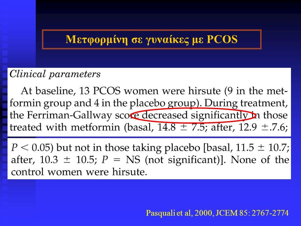 Pasquali et al, 2000, JCEM 85: 2767-2774 Μετφορμίνη σε γυναίκες με PCOS