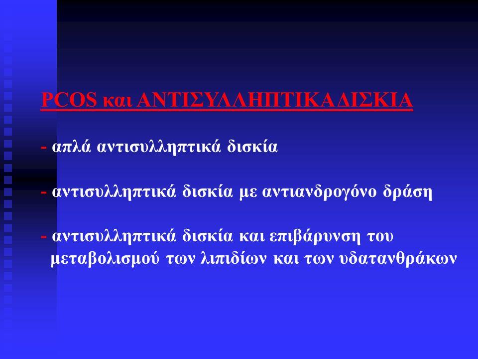 PCOS και ΑΝΤΙΣΥΛΛΗΠΤΙΚΑ ΔΙΣΚΙΑ - απλά αντισυλληπτικά δισκία - αντισυλληπτικά δισκία με αντιανδρογόνο δράση - αντισυλληπτικά δισκία και επιβάρυνση του