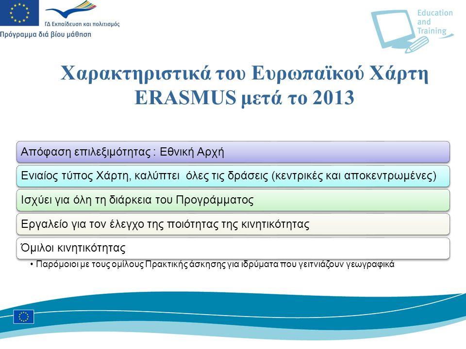 Χαρακτηριστικά του Ευρωπαϊκού Χάρτη ΕRASMUS μετά το 2013 Απόφαση επιλεξιμότητας : Eθνική ΑρχήΕνιαίος τύπος Χάρτη, καλύπτει όλες τις δράσεις (κεντρικές και αποκεντρωμένες)Ισχύει για όλη τη διάρκεια του ΠρογράμματοςΕργαλείο για τον έλεγχο της ποιότητας της κινητικότηταςΌμιλοι κινητικότητας Παρόμοιοι με τους ομίλους Πρακτικής άσκησης για ιδρύματα που γειτνιάζουν γεωγραφικά