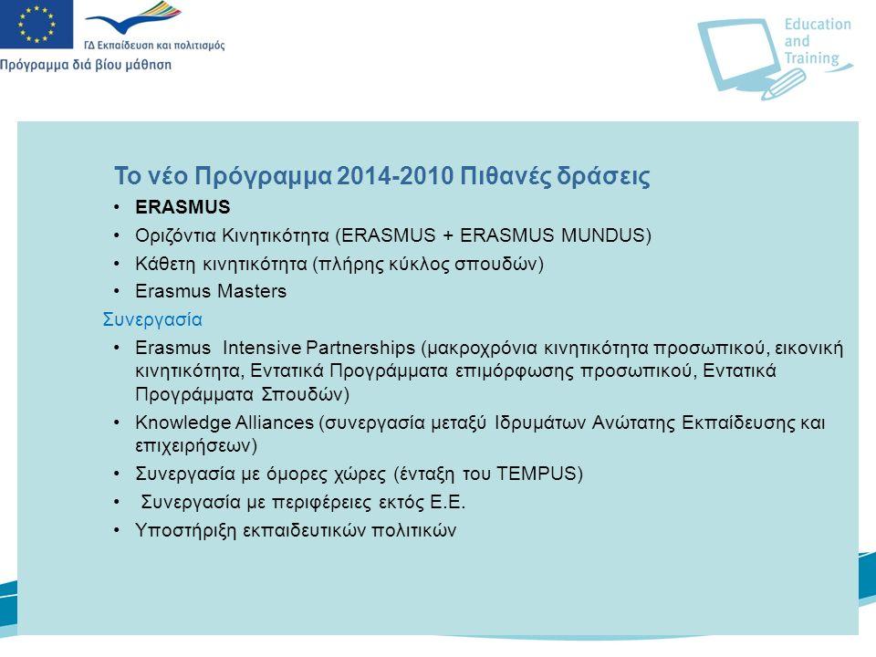 4 To νέο Πρόγραμμα 2014-2010 Πιθανές δράσεις ΕRASMUS Οριζόντια Κινητικότητα (ERASMUS + ERASMUS MUNDUS) Κάθετη κινητικότητα (πλήρης κύκλος σπουδών) Erasmus Masters Συνεργασία Erasmus Intensive Partnerships (μακροχρόνια κινητικότητα προσωπικού, εικονική κινητικότητα, Εντατικά Προγράμματα επιμόρφωσης προσωπικού, Εντατικά Προγράμματα Σπουδών) Knowledge Alliances (συνεργασία μεταξύ Ιδρυμάτων Ανώτατης Εκπαίδευσης και επιχειρήσεων) Συνεργασία με όμορες χώρες (ένταξη του TEMPUS) Συνεργασία με περιφέρειες εκτός Ε.Ε.