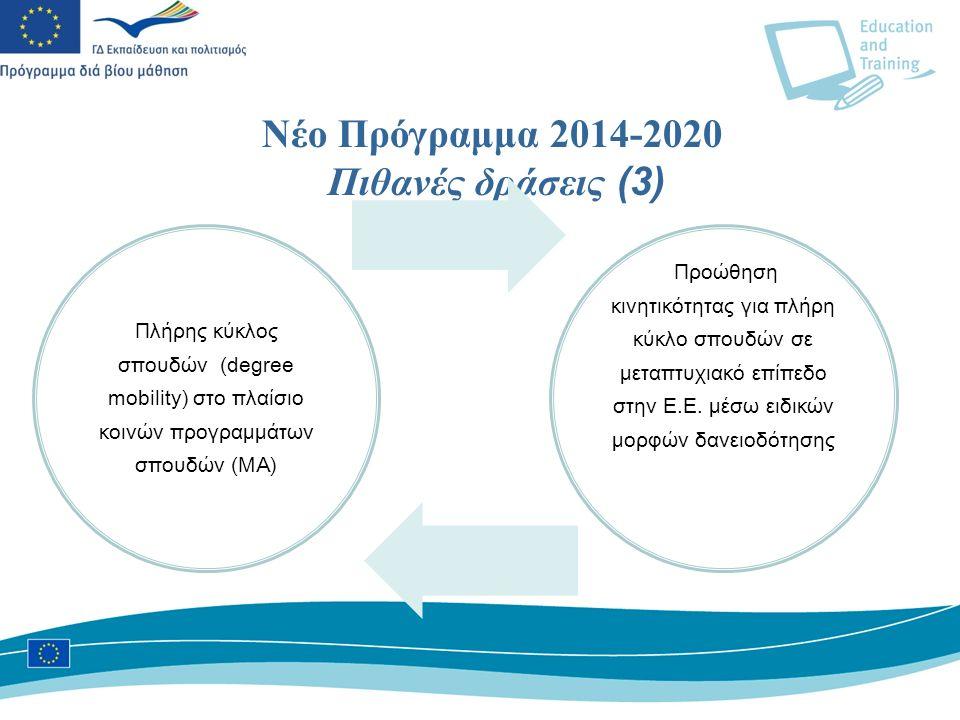 Νέο Πρόγραμμα 2014-2020 Πιθανές δράσεις (3) Πλήρης κύκλος σπουδών (degree mobility) στο πλαίσιο κοινών προγραμμάτων σπουδών (MA) Προώθηση κινητικότητας για πλήρη κύκλο σπουδών σε μεταπτυχιακό επίπεδο στην Ε.Ε.