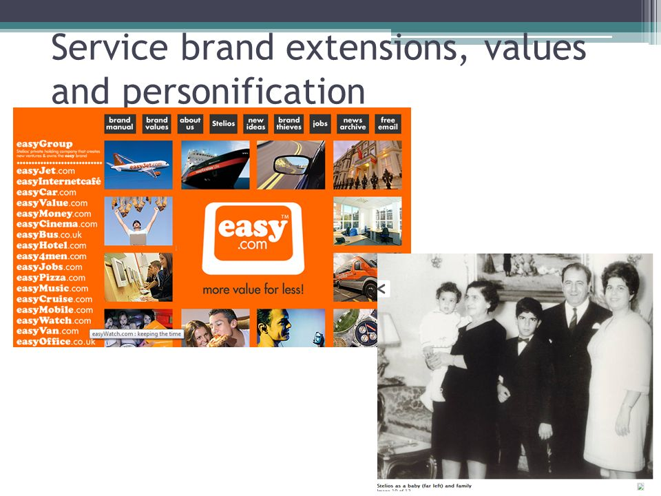 Service brand extensions, values and personification
