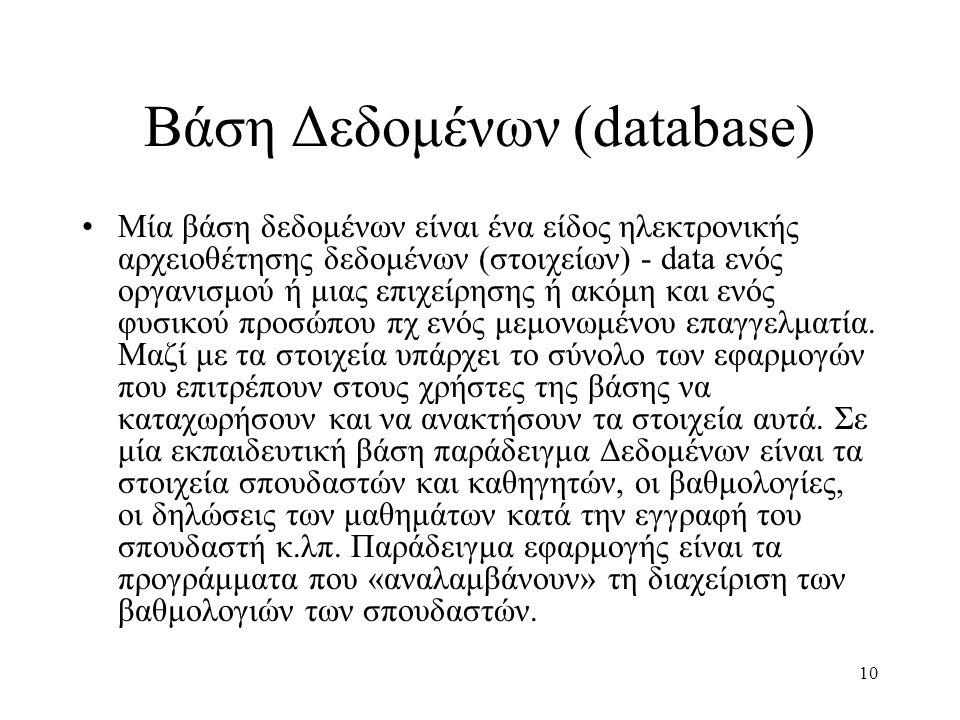 Βάση Δεδομένων (database) Μία βάση δεδομένων είναι ένα είδος ηλεκτρονικής αρχειοθέτησης δεδομένων (στοιχείων) - data ενός οργανισμού ή μιας επιχείρησης ή ακόμη και ενός φυσικού προσώπου πχ ενός μεμονωμένου επαγγελματία.