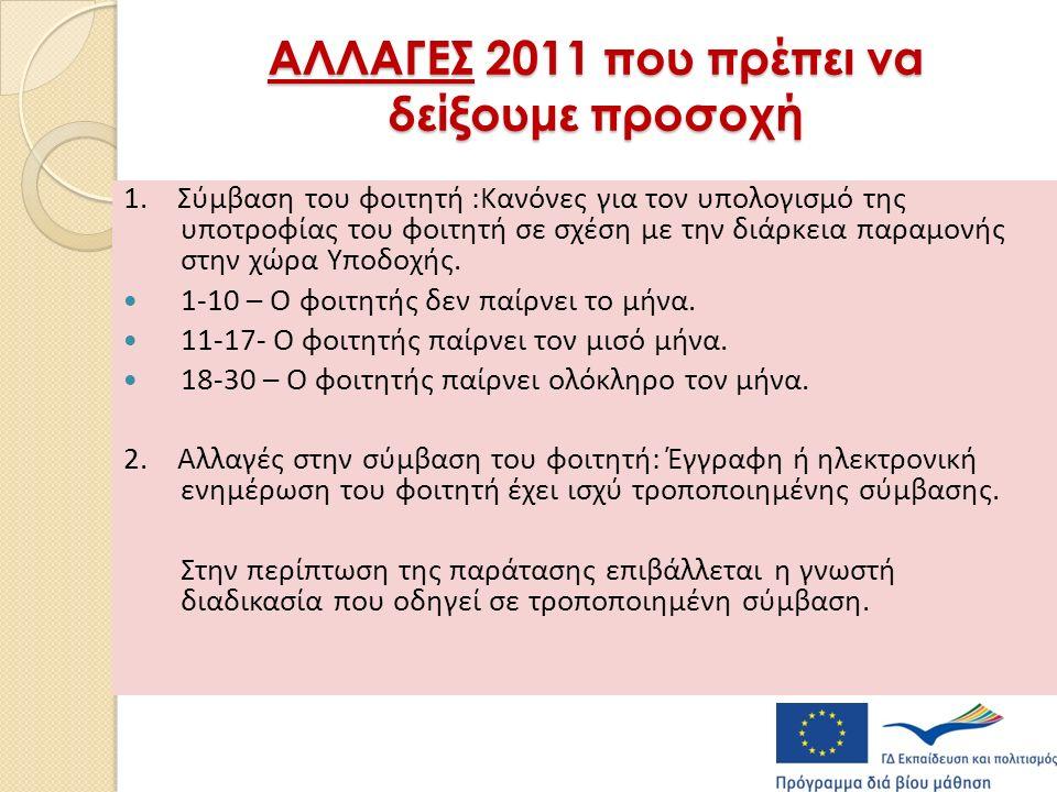 ΑΛΛΑΓΕΣ 2011 που πρέπει να δείξουμε προσοχή 1.