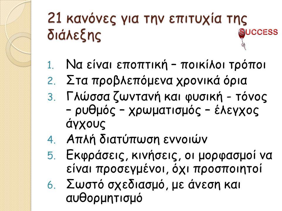 21 κανόνες για την επιτυχία της διάλεξης 1. Να είναι εποπτική – ποικίλοι τρόποι 2.