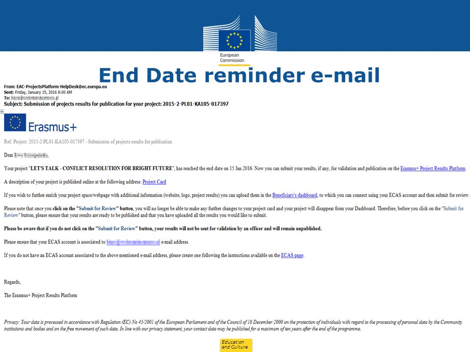 Education and Culture End Date reminder e-mail 20