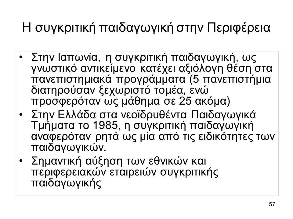 57 Η συγκριτική παιδαγωγική στην Περιφέρεια Στην Ιαπωνία, η συγκριτική παιδαγωγική, ως γνωστικό αντικείμενο κατέχει αξιόλογη θέση στα πανεπιστημιακά προγράμματα (5 πανεπιστήμια διατηρούσαν ξεχωριστό τομέα, ενώ προσφερόταν ως μάθημα σε 25 ακόμα) Στην Ελλάδα στα νεοϊδρυθέντα Παιδαγωγικά Τμήματα το 1985, η συγκριτική παιδαγωγική αναφερόταν ρητά ως μία από τις ειδικότητες των παιδαγωγικών.