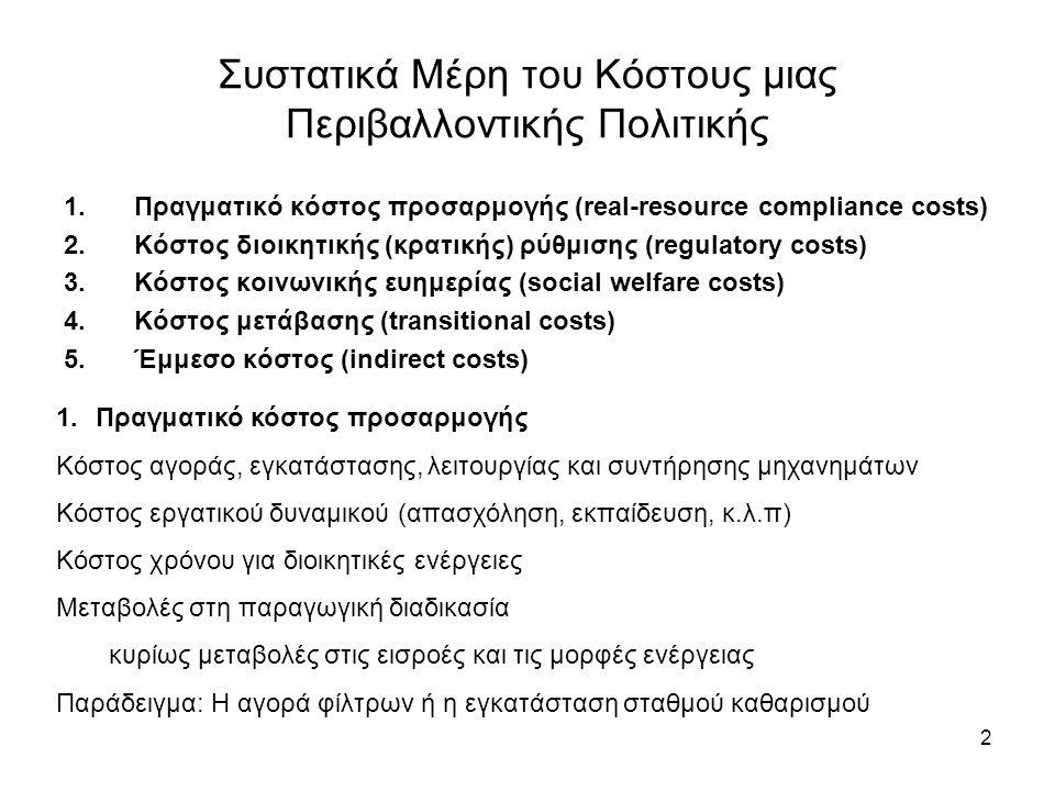2 Συστατικά Μέρη του Κόστους μιας Περιβαλλοντικής Πολιτικής 1.Πραγματικό κόστος προσαρμογής (real-resource compliance costs) 2.Κόστος διοικητικής (κρατικής) ρύθμισης (regulatory costs) 3.Κόστος κοινωνικής ευημερίας (social welfare costs) 4.Κόστος μετάβασης (transitional costs) 5.Έμμεσο κόστος (indirect costs) 1.Πραγματικό κόστος προσαρμογής Κόστος αγοράς, εγκατάστασης, λειτουργίας και συντήρησης μηχανημάτων Κόστος εργατικού δυναμικού (απασχόληση, εκπαίδευση, κ.λ.π) Κόστος χρόνου για διοικητικές ενέργειες Μεταβολές στη παραγωγική διαδικασία κυρίως μεταβολές στις εισροές και τις μορφές ενέργειας Παράδειγμα: Η αγορά φίλτρων ή η εγκατάσταση σταθμού καθαρισμού