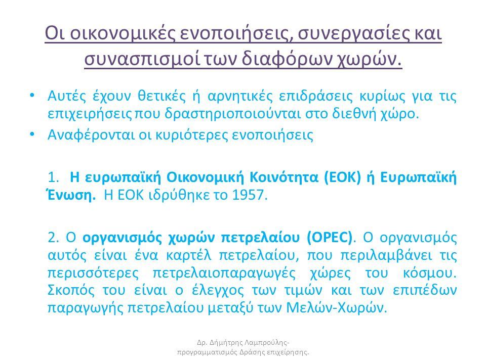 Οι οικονομικές ενοποιήσεις, συνεργασίες και συνασπισμοί των διαφόρων χωρών.
