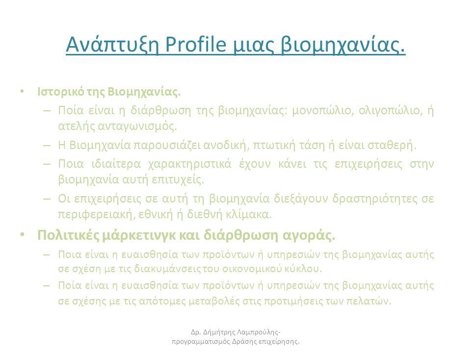 Ανάπτυξη Profile μιας βιομηχανίας. Ιστορικό της Βιομηχανίας.