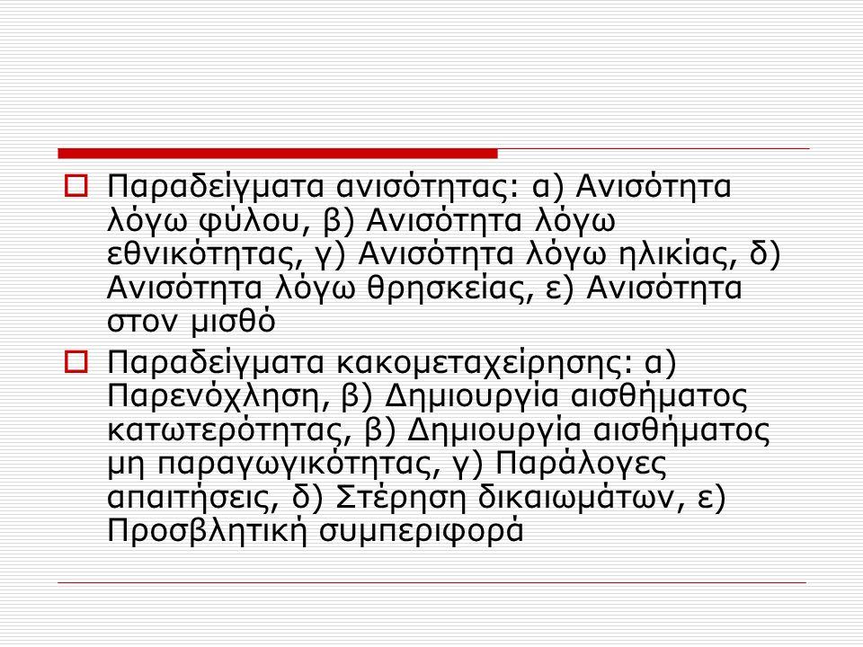 Παραδείγματα ανισότητας: α) Ανισότητα λόγω φύλου, β) Ανισότητα λόγω εθνικότητας, γ) Ανισότητα λόγω ηλικίας, δ) Ανισότητα λόγω θρησκείας, ε) Ανισότητα στον μισθό  Παραδείγματα κακομεταχείρησης: α) Παρενόχληση, β) Δημιουργία αισθήματος κατωτερότητας, β) Δημιουργία αισθήματος μη παραγωγικότητας, γ) Παράλογες απαιτήσεις, δ) Στέρηση δικαιωμάτων, ε) Προσβλητική συμπεριφορά