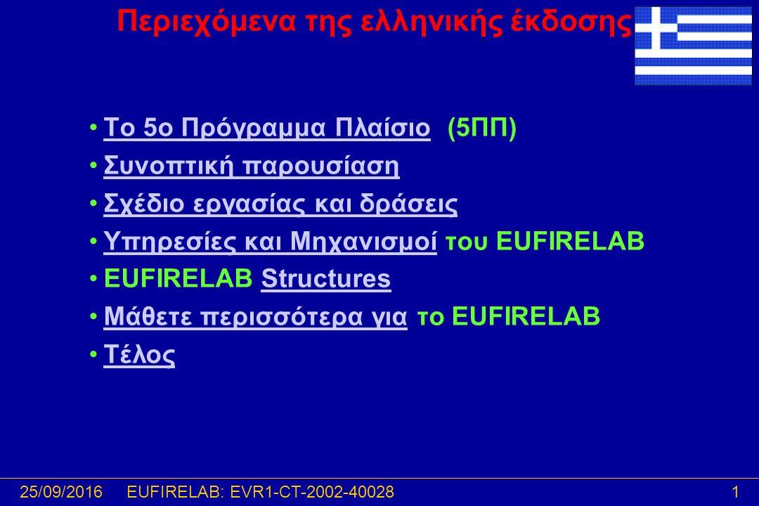 25/09/20161EUFIRELAB: EVR1-CT-2002-40028 Περιεχόμενα της ελληνικής έκδοσης Το 5ο Πρόγραμμα Πλαίσιο (5ΠΠ)Το 5ο Πρόγραμμα Πλαίσιο Συνοπτική παρουσίαση Σχέδιο εργασίας και δράσεις Υπηρεσίες και Μηχανισμοί του EUFIRELABΥπηρεσίες και Μηχανισμοί EUFIRELAB StructuresStructures Μάθετε περισσότερα για το EUFIRELABΜάθετε περισσότερα για Τέλος
