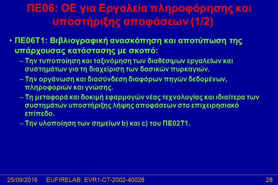 25/09/201628EUFIRELAB: EVR1-CT-2002-40028 ΠΕ06: ΟΕ για Εργαλεία πληροφόρησης και υποστήριξης αποφάσεων (1/2) ΠΕ06T1: Βιβλιογραφική ανασκόπηση και αποτύπωση της υπάρχουσας κατάστασης με σκοπό: –Την τυποποίηση και ταξινόμηση των διαθέσιμων εργαλείων και συστημάτων για τη διαχείριση των δασικών πυρκαγιών.