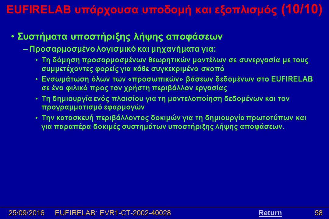 25/09/201658EUFIRELAB: EVR1-CT-2002-40028 EUFIRELAB υπάρχουσα υποδομή και εξοπλισμός (10/10) Συστήματα υποστήριξης λήψης αποφάσεων –Προσαρμοσμένο λογισμικό και μηχανήματα για: Τη δόμηση προσαρμοσμένων θεωρητικών μοντέλων σε συνεργασία με τους συμμετέχοντες φορείς για κάθε συγκεκριμένο σκοπό Ενσωμάτωση όλων των «προσωπικών» βάσεων δεδομένων στο EUFIRELAB σε ένα φιλικό προς τον χρήστη περιβάλλον εργασίας Τη δημιουργία ενός πλαισίου για τη μοντελοποίηση δεδομένων και τον προγραμματισμό εφαρμογών Την κατασκευή περιβάλλοντος δοκιμών για τη δημιουργία πρωτοτύπων και για παραπέρα δοκιμές συστημάτων υποστήριξης λήψης αποφάσεων.