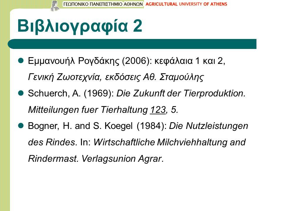 Βιβλιογραφία 2 Εμμανουήλ Ρογδάκης (2006): κεφάλαια 1 και 2, Γενική Ζωοτεχνία, εκδόσεις Αθ. Σταμούλης Schuerch, A. (1969): Die Zukunft der Tierprodukti