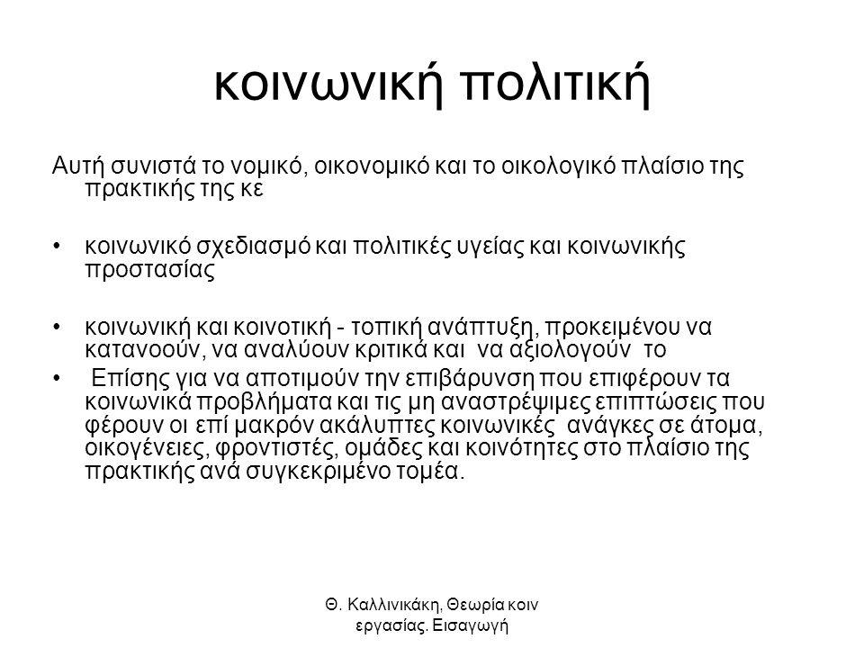 Θ. Καλλινικάκη, Θεωρία κοιν εργασίας.