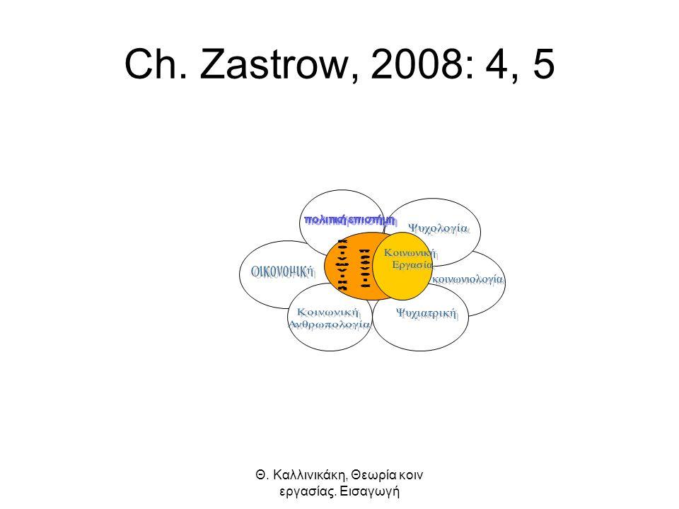 Θ. Καλλινικάκη, Θεωρία κοιν εργασίας. Εισαγωγή Ch. Zastrow, 2008: 4, 5