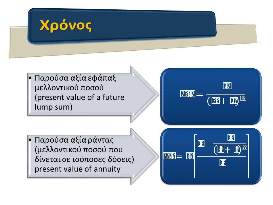Παρούσα αξία εφάπαξ μελλοντικού ποσού (present value of a future lump sum) Παρούσα αξία ράντας (μελλοντικού ποσού που δίνεται σε ισόποσες δόσεις) present value of annuity