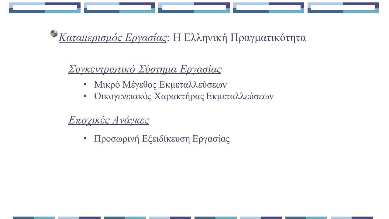 Καταμερισμός Εργασίας: Η Ελληνική Πραγματικότητα Μικρό Μέγεθος Εκμεταλλεύσεων Οικογενειακός Χαρακτήρας Εκμεταλλεύσεων Εποχικές Ανάγκες Συγκεντρωτικό Σύστημα Εργασίας Προσωρινή Εξειδίκευση Εργασίας