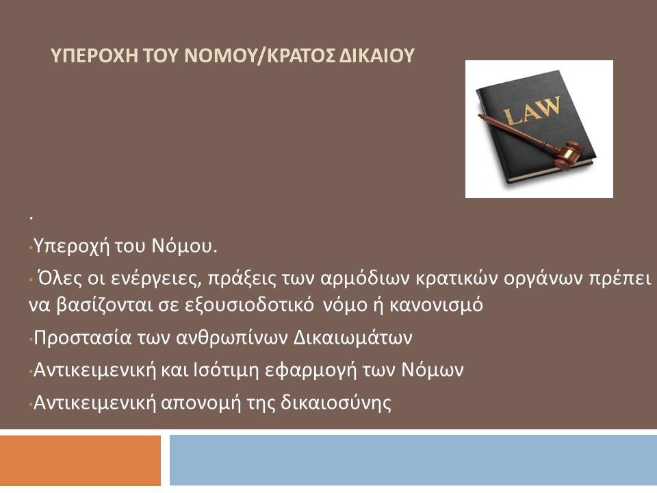 ΥΠΕΡΟΧΗ ΤΟΥ ΝΟΜΟΥ / ΚΡΑΤΟΣ ΔΙΚΑΙΟΥ. Υπεροχή του Νόμου. Όλες οι ενέργειες, πράξεις των αρμόδιων κρατικών οργάνων πρέπει να βασίζονται σε εξουσιοδοτικό