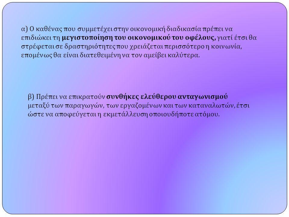 α ) Ο καθένας που συμμετέχει στην οικονομική διαδικασία πρέπει να επιδιώκει τη μεγιστοποίηση του οικονομικού του οφέλους, γιατί έτσι θα στρέφεται σε δ