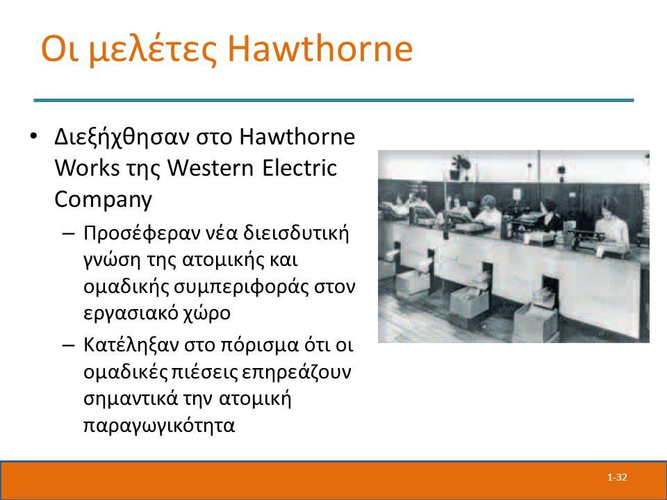 Οι μελέτες Hawthorne Διεξήχθησαν στο Hawthorne Works της Western Electric Company – Προσέφεραν νέα διεισδυτική γνώση της ατομικής και ομαδικής συμπεριφοράς στον εργασιακό χώρο – Κατέληξαν στο πόρισμα ότι οι ομαδικές πιέσεις επηρεάζουν σημαντικά την ατομική παραγωγικότητα 1-32