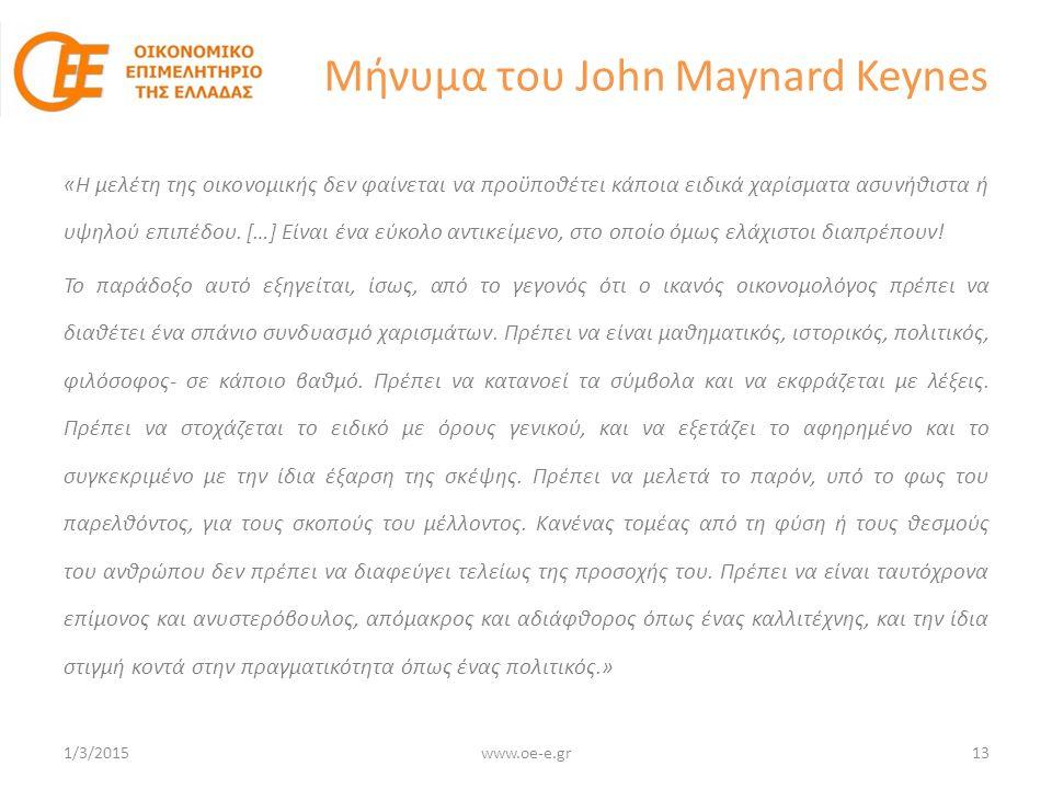 Μήνυμα του John Maynard Keynes «Η μελέτη της οικονομικής δεν φαίνεται να προϋποθέτει κάποια ειδικά χαρίσματα ασυνήθιστα ή υψηλού επιπέδου.