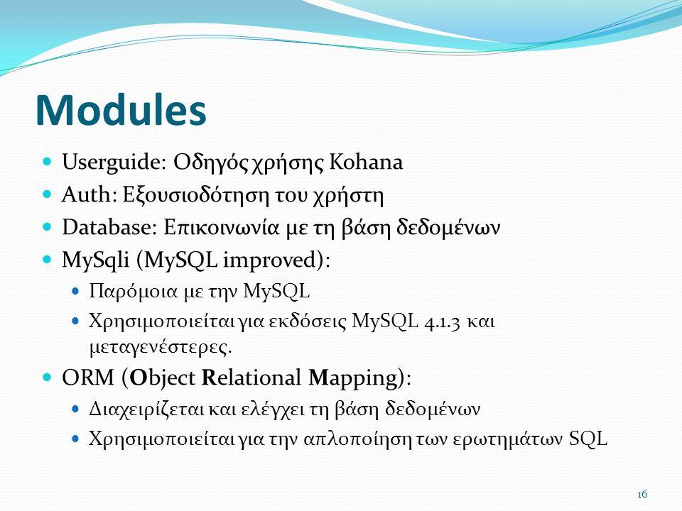 Modules Userguide: Οδηγός χρήσης Kohana Auth: Εξουσιοδότηση του χρήστη Database: Επικοινωνία με τη βάση δεδομένων MySqli (MySQL improved): Παρόμοια με την MySQL Χρησιμοποιείται για εκδόσεις MySQL 4.1.3 και μεταγενέστερες.