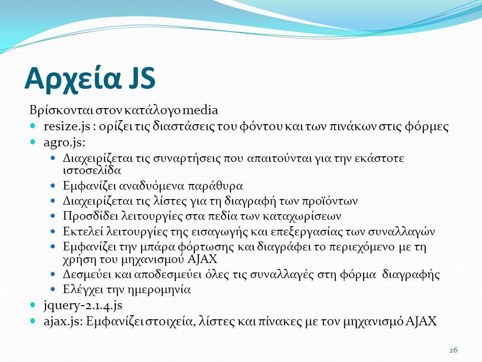 Αρχεία JS Βρίσκονται στον κατάλογο media resize.js : ορίζει τις διαστάσεις του φόντου και των πινάκων στις φόρμες agro.js: Διαχειρίζεται τις συναρτήσεις που απαιτούνται για την εκάστοτε ιστοσελίδα Εμφανίζει αναδυόμενα παράθυρα Διαχειρίζεται τις λίστες για τη διαγραφή των προϊόντων Προσδίδει λειτουργίες στα πεδία των καταχωρίσεων Εκτελεί λειτουργίες της εισαγωγής και επεξεργασίας των συναλλαγών Εμφανίζει την μπάρα φόρτωσης και διαγράφει το περιεχόμενο με τη χρήση του μηχανισμού AJAX Δεσμεύει και αποδεσμεύει όλες τις συναλλαγές στη φόρμα διαγραφής Ελέγχει την ημερομηνία jquery-2.1.4.js ajax.js: Εμφανίζει στοιχεία, λίστες και πίνακες με τον μηχανισμό AJAX 26