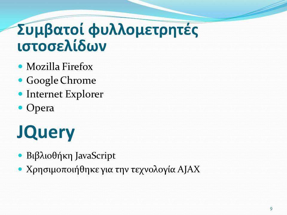 JQuery Mozilla Firefox Google Chrome Internet Explorer Opera Συμβατοί φυλλομετρητές ιστοσελίδων Βιβλιοθήκη JavaScript Χρησιμοποιήθηκε για την τεχνολογία AJAX 9