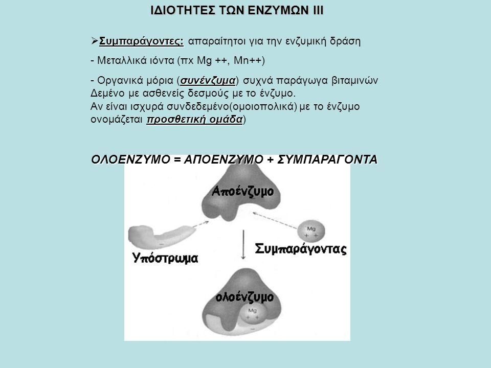 ΙΔΙΟΤΗΤΕΣ ΤΩΝ ΕΝΖΥΜΩΝ ΙΙΙ Συμπαράγοντες:  Συμπαράγοντες: απαραίτητοι για την ενζυμική δράση - Μεταλλικά ιόντα (πx Mg ++, Μn++) συνένζυμα - Οργανικά μόρια (συνένζυμα) συχνά παράγωγα βιταμινών Δεμένο με ασθενείς δεσμούς με το ένζυμο.