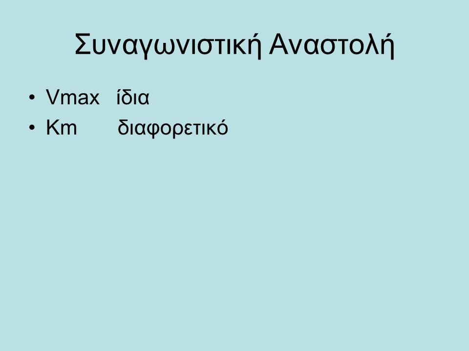 Συναγωνιστική Αναστολή Vmax ίδια Κm διαφορετικό