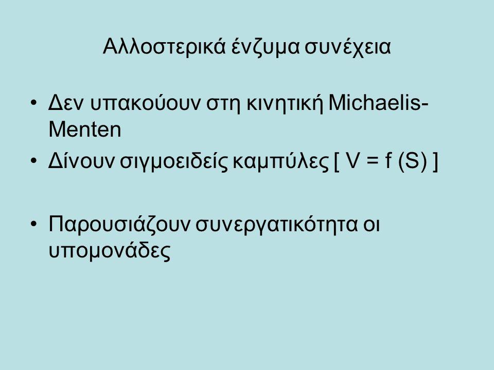 Αλλοστερικά ένζυμα συνέχεια Δεν υπακούουν στη κινητική Michaelis- Menten Δίνουν σιγμοειδείς καμπύλες [ V = f (S) ] Παρουσιάζουν συνεργατικότητα οι υπο
