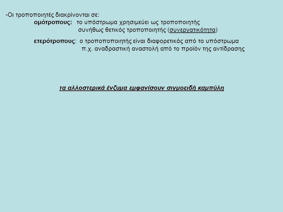 -Οι τροποποιητές διακρίνονται σε: ομότροπους: το υπόστρωμα χρησιμεύει ως τροποποιητής συνήθως θετικός τροποποιητής (συνεργατικότητα) ετερότροπους: ο τροποποποιητής είναι διαφορετικός από το υπόστρωμα π.χ.