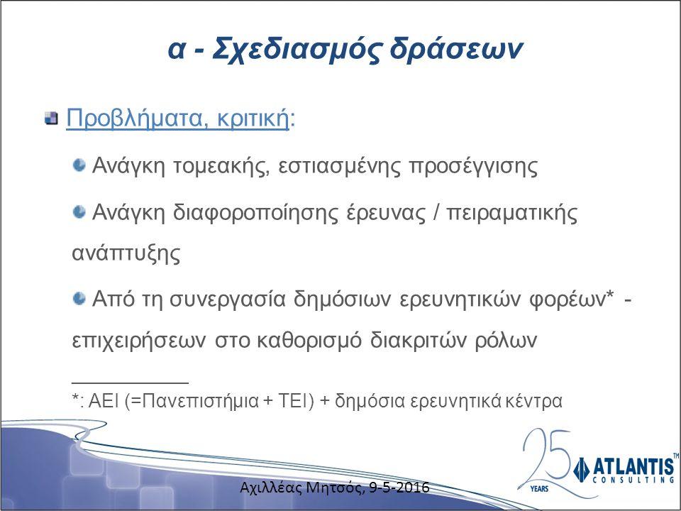 α - Σχεδιασμός δράσεων Προβλήματα, κριτική: Ανάγκη τομεακής, εστιασμένης προσέγγισης Ανάγκη διαφοροποίησης έρευνας / πειραματικής ανάπτυξης Από τη συνεργασία δημόσιων ερευνητικών φορέων* - επιχειρήσεων στο καθορισμό διακριτών ρόλων ___________ *: ΑΕΙ (=Πανεπιστήμια + ΤΕΙ) + δημόσια ερευνητικά κέντρα Αχιλλέας Μητσός, 9-5-2016