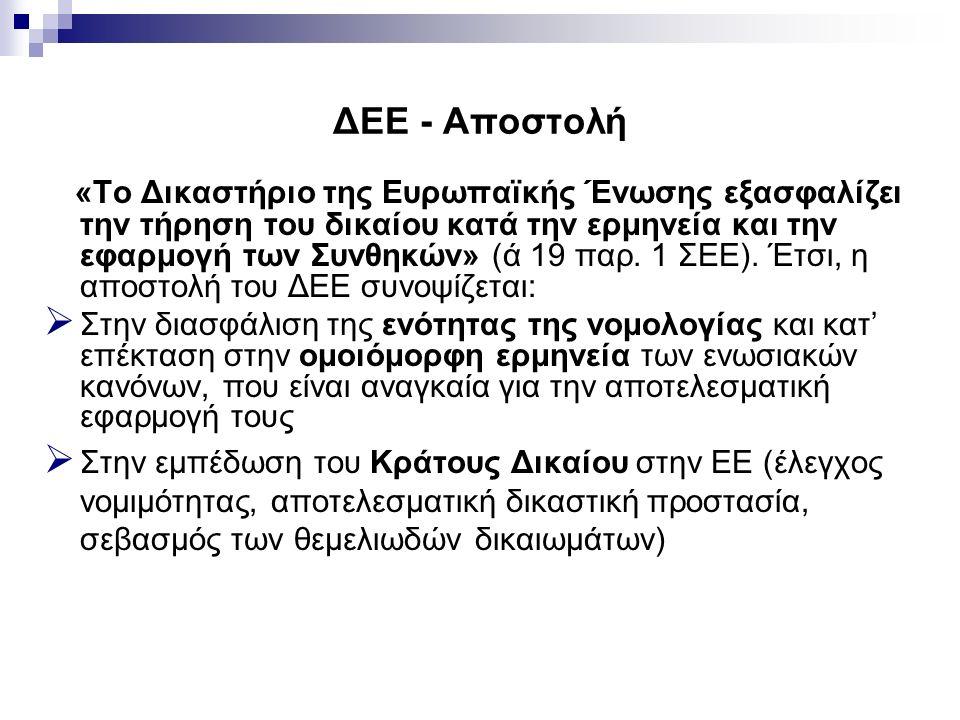 ΔΕΕ - Αποστολή «Το Δικαστήριο της Ευρωπαϊκής Ένωσης εξασφαλίζει την τήρηση του δικαίου κατά την ερμηνεία και την εφαρμογή των Συνθηκών» (ά 19 παρ. 1 Σ