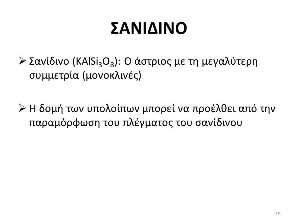 ΣΑΝΙΔΙΝΟ  Σανίδινο (KAlSi 3 O 8 ): Ο άστριος με τη μεγαλύτερη συμμετρία (μονοκλινές)  Η δομή των υπολοίπων μπορεί να προέλθει από την παραμόρφωση του πλέγματος του σανίδινου 15