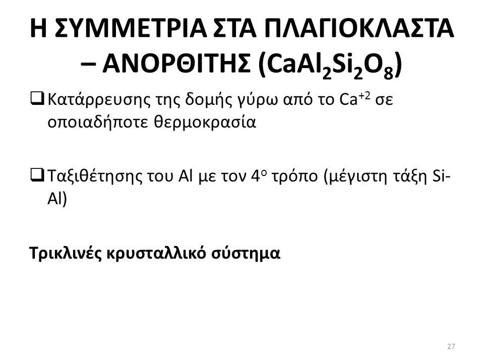 Η ΣΥΜΜΕΤΡΙΑ ΣΤΑ ΠΛΑΓΙΟΚΛΑΣΤΑ – ΑΝΟΡΘΙΤΗΣ (CaAl 2 Si 2 O 8 )  Κατάρρευσης της δομής γύρω από το Ca +2 σε οποιαδήποτε θερμοκρασία  Ταξιθέτησης του Al με τον 4 ο τρόπο (μέγιστη τάξη Si- Al) Τρικλινές κρυσταλλικό σύστημα 27