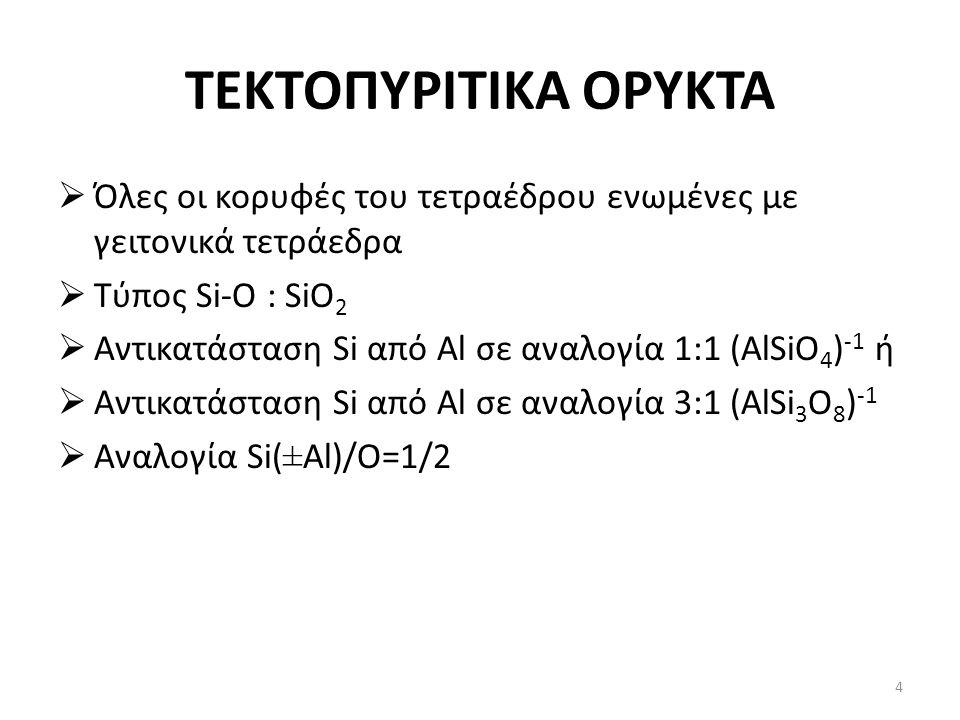 ΤΕΚΤΟΠΥΡΙΤΙΚΑ ΟΡΥΚΤΑ  Όλες οι κορυφές του τετραέδρου ενωμένες με γειτονικά τετράεδρα  Τύπος Si-O : SiO 2  Αντικατάσταση Si από Al σε αναλογία 1:1 (AlSiO 4 ) -1 ή  Αντικατάσταση Si από Al σε αναλογία 3:1 (AlSi 3 O 8 ) -1  Αναλογία Si(±Al)/O=1/2 4