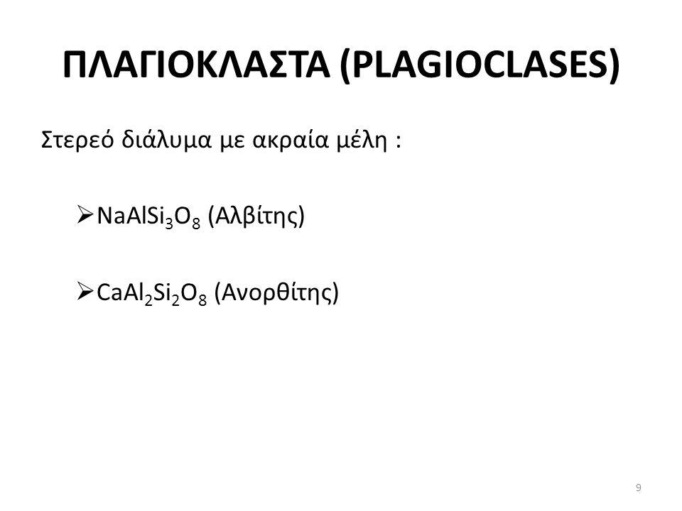 ΠΛΑΓΙΟΚΛΑΣΤΑ (PLAGIOCLASES) Στερεό διάλυμα με ακραία μέλη :  NaAlSi 3 O 8 (Αλβίτης)  CaAl 2 Si 2 O 8 (Ανορθίτης) 9